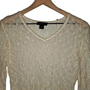 Ann Taylor Mohair Sequin Knit Sweater Cream S